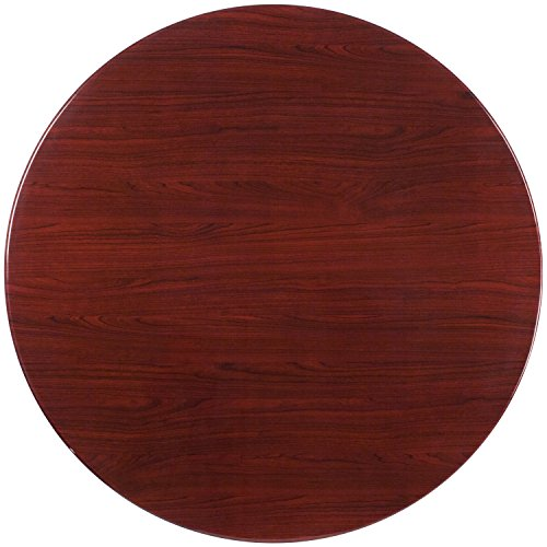 48' Round Dining Table (Flash Furniture 48'' Round High-Gloss Mahogany Resin Table Top with 2'' Thick Drop-Lip)