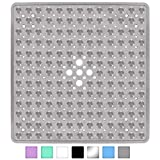 Yimobra Square Bath Shower Tub Mat for Bathroom, Non-Slip Suction Cups with Drain Holes, Machine Washable, Top Material, 21 x 21 Inches, Clear Gray