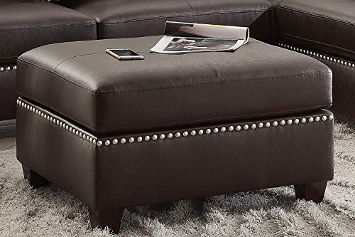 Poundex F6973 Bobkona Viola Faux Leather Left or Right Hand Chaise Sectional Set with Ottoman (Pack of 3), Espresso