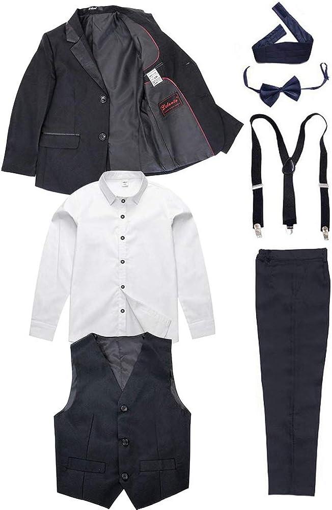 7 Piezas Niños Traje Negro Niños Cumpleaños Graduación Esmoquin Formal Blazer Camisa Trajes de Fiesta de Boda: Amazon.es: Ropa y accesorios
