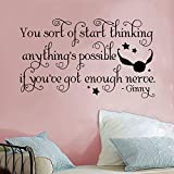 """Ginny Harry Potter Inspired Anything is Possible Snitch Quidditch Quote Vinyl Wall Decal [BLACK] by GMDdecals 24"""" x 12"""" Hogwarts Spell Wizard Storybook Decor"""