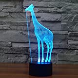 YKL WORLD Giraffe 3D Illusion LED Night Light Touch Switch Desk Lamp 7 Color Changing USB Powered Bed Room Home Decor Toys Birthday Party Supplies Gifts for Kids Boys