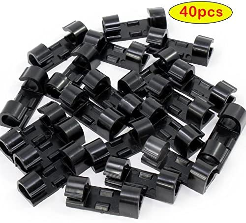 AIKE Cable Wire Cord ClipsCable Cord Management Holder OrganizerSelf-Adhesive Pads 40Pack (Black)