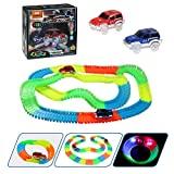 Magic Tracks | infinitoo 220 Pcs Neon Parts Track Racer Set | 2 Light-up Race Flexible Cars with 3 LED Lights|Bendable Glow in the Dark Racetrack| Cool Gift for Kids Toddlers over 3 Year old | Perfect Holiday Brithday Gifts