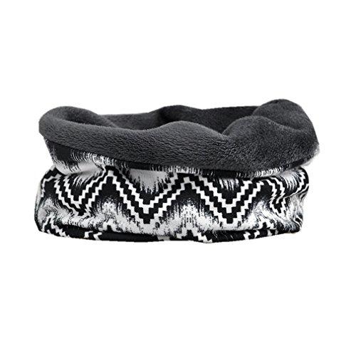 Thick Fleece Black White Striped printed Winter Sleep Cap Slouchy Beanie Hat Infinity Turban ()