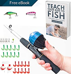 Kids Fishing Pole Combo Set | All-in-One Youth Fishing Kit Includes Collapsible Rod, Spincast Reel, Tackle Box, Travel Bag, and eBook | Perfect Fishing Kit Gift for Children by PrimeGO
