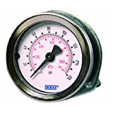 WIKA 4231465 Commercial Pressure Gauge, Dry-Filled, Copper Alloy Wetted Parts, 2