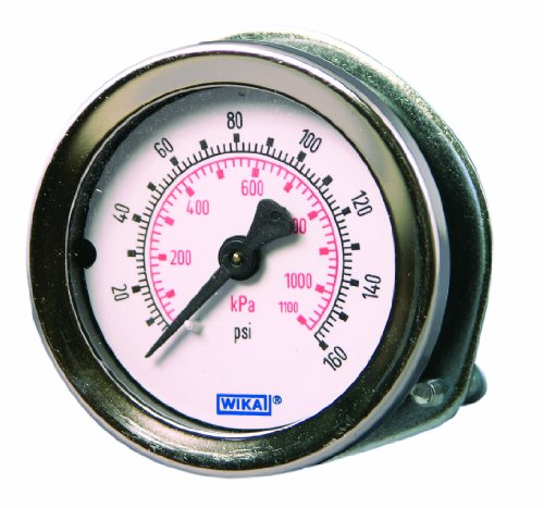 Gauge Wika - WIKA 4231384 Commercial Pressure Gauge, Dry-Filled, Copper Alloy Wetted Parts, 2