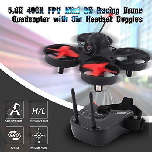 Tree-on-Life 5.8G 40CH FPV Caméra Mini RC Racing Drone Quadricoptere Aéronef avec Casque 3 Pouces Auto-Recherche Lunettes Moniteur Recreation