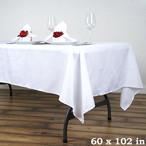 """BalsaCircle 60x102"""" Polyester Tablecloth Wedding Linens - White"""