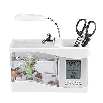 Mini Pecera, Acuario de Escritorio, Multifuncional Pecera con La Pantalla Digital LCD para Mostrar