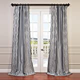 HPD HALF PRICE DRAPES Half Price Drapes EFSCH-14085-96 Embroidered Faux Silk Taffeta Curtain, Chai Silver Review