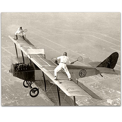 - Lone Star Art Playing Tennis on Biplane Wing Vintage Print - 11x14 Unframed Print - Perfect Airport Lounge Decor