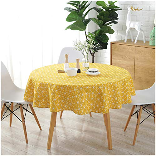 (Jiuhong Cotton Linen Printed Tablecloth Dust-Proof Table Cover for Kitchen Dinning Tabletop Decoration (Yellow/Lattice, Round, 60 Inch))