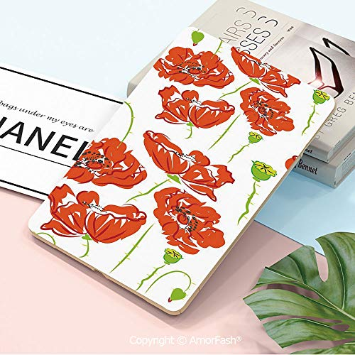 (Decorations Galaxy Tab A 10.5 T590 T595 Shockproof Case,[Anti-Scratch] [No-Bubble] [Case-Friendly],Anemone Flower,Doodle Style Poppy Anemone Field in Full Blossom May Flowers Decorative,Scarlet Lime G)