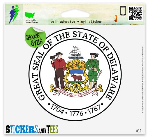 Delaware State Seal Flag Car Sticker Indoor Outdoor 4