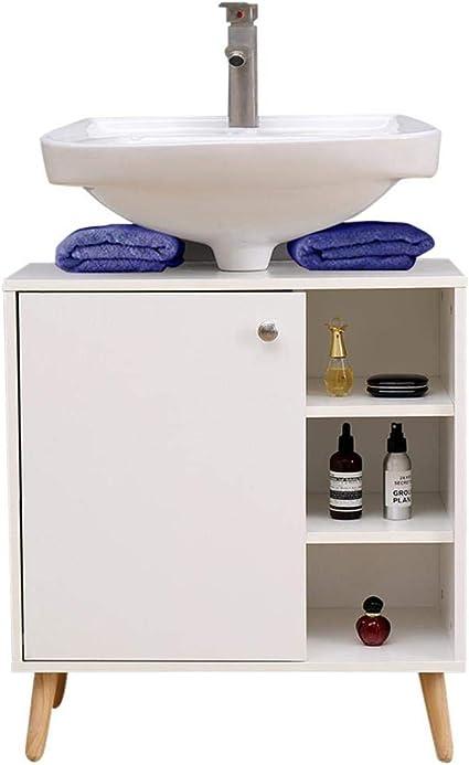 Etnicart Mueble bajo Lavabo para baño 62 (L) x32x67 gabinete Debajo del Fregadero para Cocina en Madera con Puerta para estantes Blancos en Patas ...