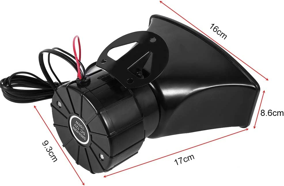 100W 12V 7 Tones Sound Loud Car Siren Horn Speaker With Mic PA Speaker System with Fire Alarm for Car Boat Van Truck Ambulance Police Siren etc Car Siren Speaker