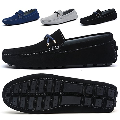 SONLLEIVOO Men's Penny Loafers Moccasins Suede Casual Shoes Sneakers Loafers Slip On Flats Shoes(9.5,Black) (Slip Loafers Suede)