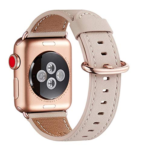 WFEAGL Compatible iWatch Band 40mm 38mm, Top Grain Leather Band with Gold Adapter (The Same as Series 4/3 with Gold Aluminum Case in Color) for iWatch Series 4/3/2/1 (Pink Sand Band+Gold Buckle)