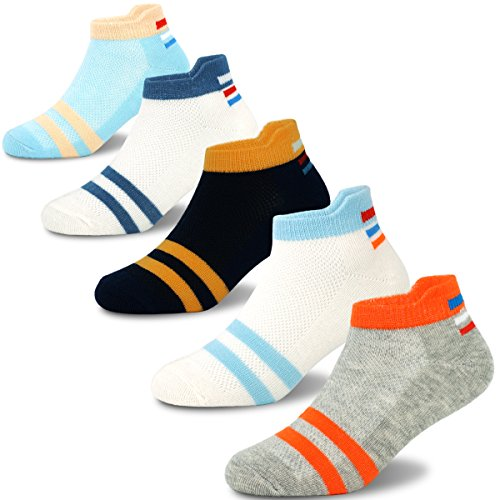 Boys Low Cut Cotton Atheletic Socks Breathable Short Socks for Kids 5 Pack
