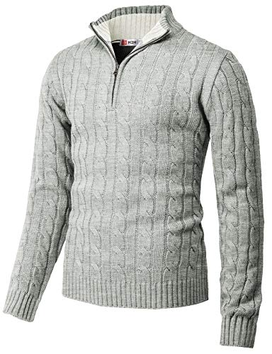 H2H Mens Casual Slim Fit Pullover Sweaters Mock Neck Zip up Various Patterned LightGray US S/Asia M (CMOSWL040)