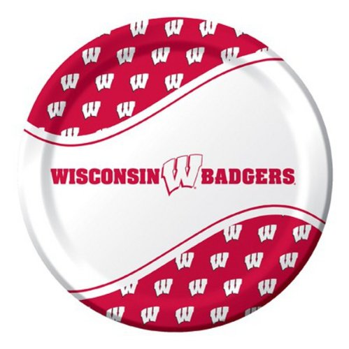 Ncaa Dinner Plates - Pack of 96 NCAA Wisconsin Badgers Round Tailgate Party Paper Dinner Plates 8.75