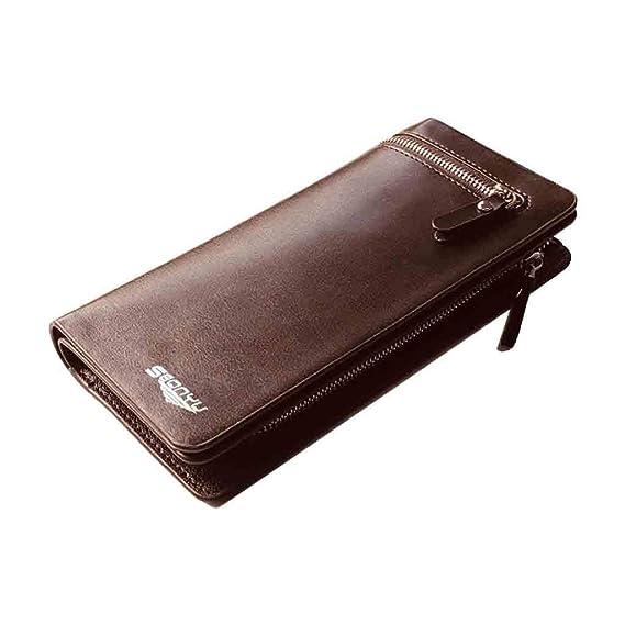 Beladla Monedero Hombre Piel Autentica Cartera Hombre Grandes De Piel Billetera Bolso Bag Larga De Elegante Y Moda: Amazon.es: Ropa y accesorios
