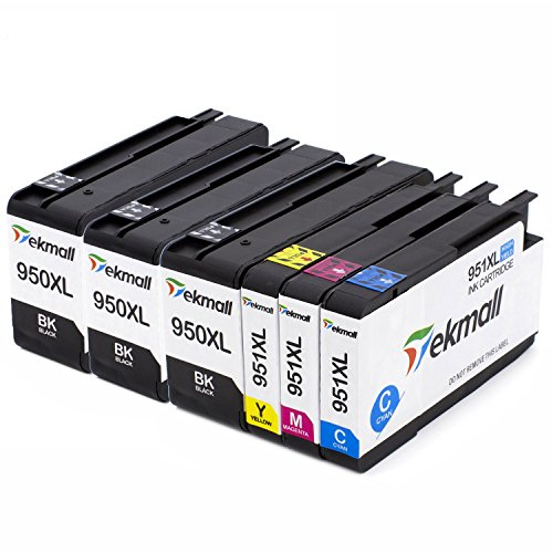TekMall 6 Pack (1set+2BK) 950 951 950XL 951XL High Yield Replacement ink cartridges - Compatible With Officejet PRO 8600 8610 8620 8630 8640 8660 8615 8625 251dw 276dw