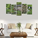 Unique Landscape Art Oil Painting Decoration Fantasy Forest Dream House Custom 100% Canvas Material Canvas Print Bedroom Wall Art Living Room Mural Decoration 5 Piece Canvas painting (No Frame)