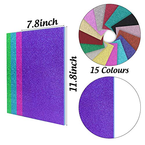 3 otters Glitter Foam Sheet Sparkles Self Adhesive Sticky, 11.8 x 7.8 inches Adhesive Foam Sheets Decorative Craft Paper for DIY Craft Activities, 15 Assorted Colors