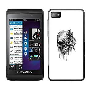 rígido protector delgado Shell Prima Delgada Casa Carcasa Funda Case Bandera Cover Armor para Blackberry Z10 /Rock Roll Death Metal Ink/ STRONG