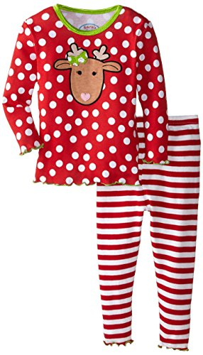 Sara's Prints Baby Girls' Snug Fit Pajamas, Red Stripe/Polka Dot/Reindeer 12 Months