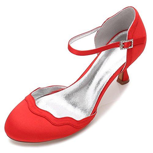 L@YC Zapatos De Boda De Las Mujeres T17061-54 Partido De Seda Y Punta Plana Hebilla De TacóN Bajo/Multicolor Red