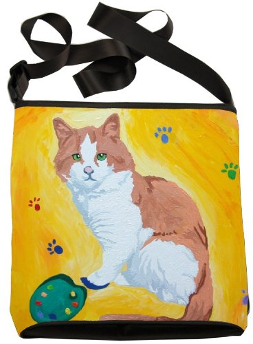 Original the Animal Art Wearable Small Vegan From in Body My Paint Cat Cross Paw Paintings Handbag SzAqSO