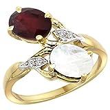 14k Yellow Gold Diamond Enhanced Genuine Ruby & Natural Rainbow Moonstone 2-stone Ring Oval 8x6mm, sizes 5 - 10