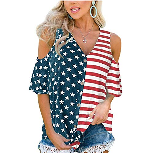 Penguin Short Sleeve Sweater - Women's Short Sleeve T Shirts, Patriotic Stripes Star American Flag Cold Shoulder V Neck Button Down Casual Blouse Top Red