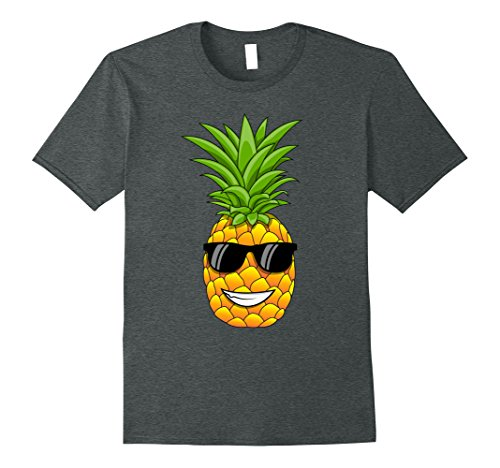 Mens Hawaiian Pineapple T-Shirt with Sunglasses - Cool Tee Shirt Large Dark - Sunglasses Shirt