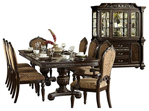 Ragosta European 10PC Dining Set Double Pedestal Table, 2 Arm, 6 Side Chair, Buffet & Hutch in Warm Cherry
