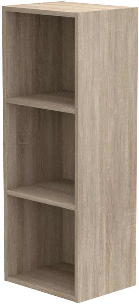 Estante de madera, varios modelos con 1, 2, 3 o 4 compartimentos, Antique Oak, 3 niveles