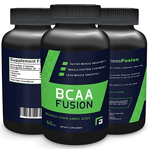 BCAA Lean Muscle Growth Protein Nutritional Supplement by Fitness Fusion | 100% Natural, Effective Branch Chain Amino Acids Formula for Mass Gain, Bodybuilding and Weightlifting Athletes (60 Capsules)