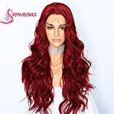 Sapphirewigs Red Color Wavy Type Futura No-Tangle Glueless Women Party Daily Makeup Synthetic Lace Front Wigs (Red)