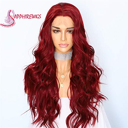 Sapphirewigs Red Color Wavy Type Futura No-Tangle Glueless Women Party Daily Makeup Synthetic Lace Front Wigs -