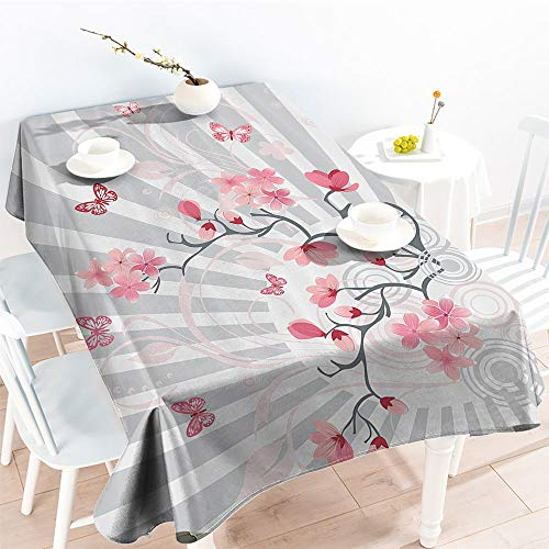 Jinguizi Rectangular Table Covers Cherry Blooming Butterflies on Stripes Sun Rays Curvy Lines Ornamental Artworkfor Spring/Summer TableclothPale Grey Pink(70 by 120 Inch Oblong Rectangular)