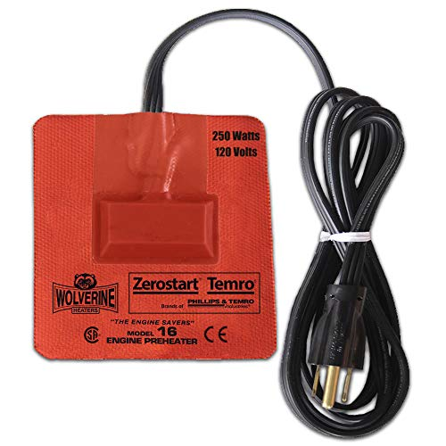 """Zerostart 3400121 Silicone Pad Engine Oil, Transmission, Reservoir and Hydraulic Fluid Heater, 3½"""" (9.5 cm) x 4½"""" (11 cm) 