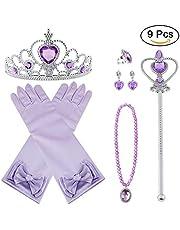 Vicloon 9pcs Princesse Dress Up Accessoires Filles Diadème/ Baguette Magique/ Collier/ Gants /Bague/Boucles d'oreilles pour Cosplay Carnaval Fête d'anniversaire