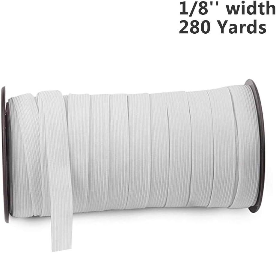 YuQi Cordoncino Elastico Piatto Elastico per Cucito Lunghezza 256 m Rotoli di Cavo Elastico 3mm, Nero