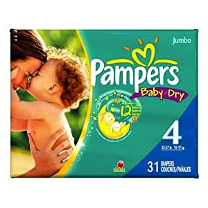 Pampers Baby Dry Diapers Jumbo Pack, Size 4, 31 Count