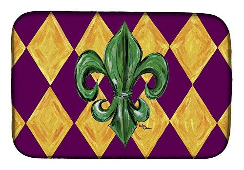 Caroline's Treasures 8133DDM Mardi Gras Fleur De Lis Purple Dish Drying Mat 14