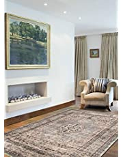 "ECARPETGALLERY Vintage Oriental Area Rug for Living Room, Bedroom, 3'11"" x 5'11"", Beige/ Ivory"
